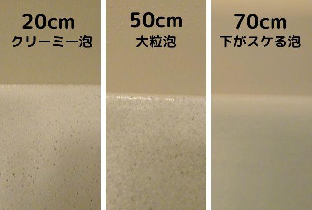 エミュール入浴剤ミネラルバスパウダー実験「シャワーから水を出す位置を変える」結果「20mはクリーミーな泡」「50cmの泡はやや大きめ」「70cmからの泡は少なめ」