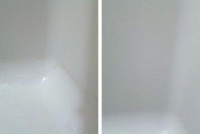 エミュール入浴剤ミネラルバスパウダー口コミの浴槽写真ビフォーアフター